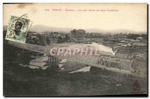 Old Postcard Tonkin Moncay Bridge Linking Two Frontieres Indochina