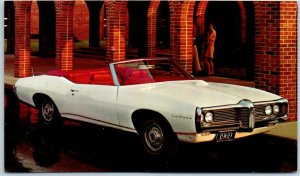 1969 PONTIAC LE MANS CONVERTIBLE Car Adv. Postcard FRANK REIMAN Wilmington CA