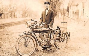 Indian Motorcycle Postcard Real Photo Writing On Back