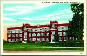 Woodstock, Illinois Postcard Woodstock Community High School Linen c1940s