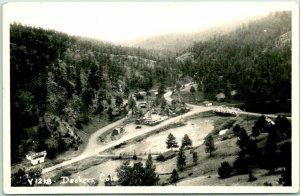 DECKERS, Colorado RPPC Real Photo Postcard Bird's-Eye Town / Café View c1940s