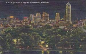 Minnesota Minneapolis Night View Of Skyline