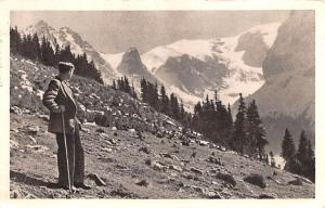 Poland Old Vintage Antique Post Card Man looking off Mountain Postal Used Unk...