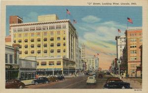 Lincoln Nebraska~O Street West~Kindy Optical~Singer~Bonds~Walgreen Drugs~1942