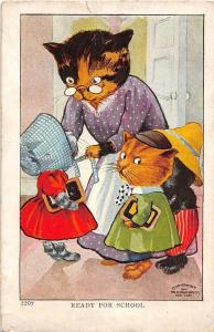D98/ Interesting Postcard Fantasy Dressed Cats Ready For School  17