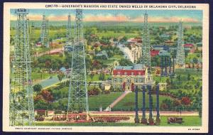 Governors Mansion & Oil Wells Oklahoma City OK unused c1936