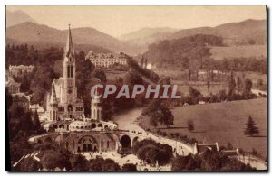 Old Postcard Lourdes Basilica and the Crown Virgin