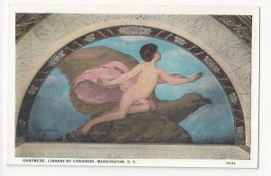 Washington DC Library of Congress Mural Ganymede Vintage B S Reynolds Postcard