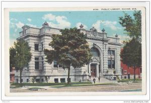 Racine WI Wisconsin Public Library Vintage EA Bishop Postcard
