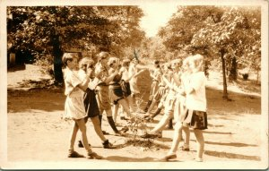 RPPC 1930 - Postcard From Girls Camp - Girls Practicing Dance Routine Boston MA