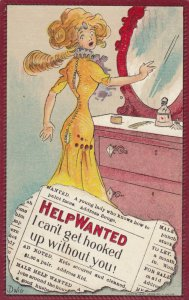 AS; DWIG, PU-1909; Shocked woman in front of mirror, Help Wanted Advertisement