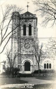Whitinsville Massachusetts~Congregational Church~Real Photo Postcard 1947