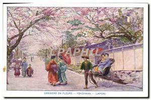 Old Postcard Yokohama Japan Nippon Cherry blossoms