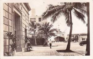 Hawaii Honolulu Bishop Street & Honolulu Harbor Real Photo RPPC