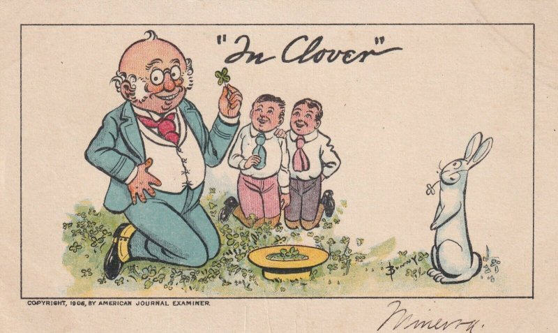 AS: In Clover, Old Man & boys in kneeling in field, White Rabbit, 1906; BUNNY