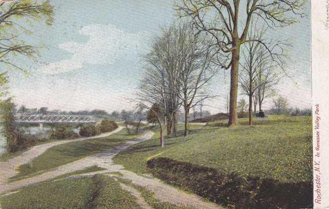 Genesee Valley Park Rochester New York Trail near Elmwood Avenue Bridge pm 1906
