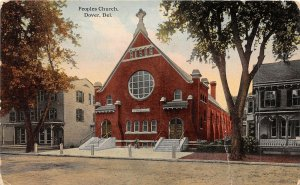 H76/ Dover Delaware Postcard c1910 People Church Building 119
