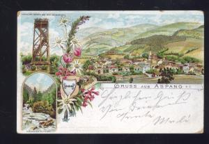 1898 GRUSS AUS ASPANG GERMANY RPO BAHNHOF CANCEL ANTIQUE VINTAGE POSTCARD