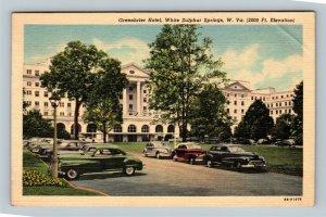 White Sulphur Springs, The Greenbrier Hotel, Cars, Linen West Virginia Postcard