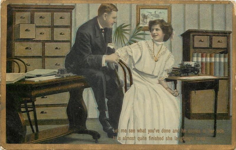 Office Romance~Secretary~Typewriter On Desk~Boss Wants to See Work~Gold Border
