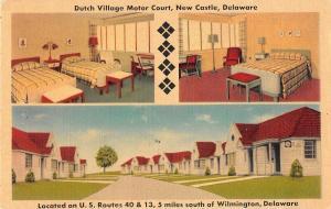 New Castle Delaware views of Dutch Village Motor Court linen antique pc (Z10761)