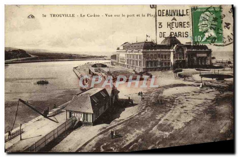 Old Postcard Trouville Casino Harbor View and Beach