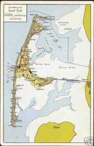 germany, SYLT, North Frisian Island, MAP Postcard 1930s