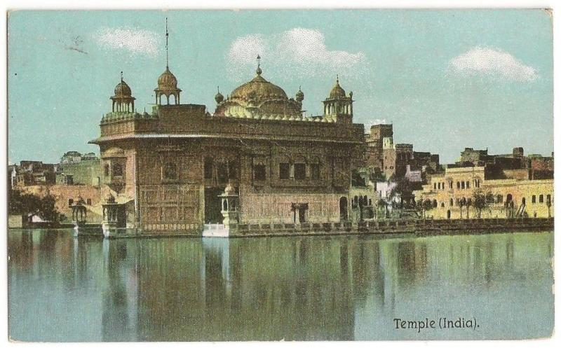India Golden Temple postcard used 1908 in UK