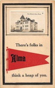 F43/ Alma Kansas RPPC Postcard c1910 New School Building Pennant