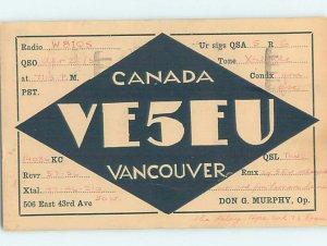 1930s QSL RADIO CARD Vancouver British Columbia BC AH3276
