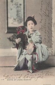 Japan Dancing Girl Playing Tsudzumi Vintage Postcard 1908