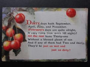 Verse & Poem DIRTY days hath September, April, JUne and November c1929 by Salmon