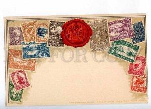 231937 NEW ZEALAND Coat of arms STAMPS Vintage Zieher postcard