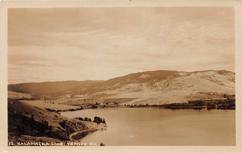 G42/  RPPC Postcard Vernon British Columbia BC Canada Kalamalka Lake c30s