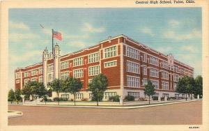 Tulsa Oklahoma~Central High School~1934 Linen Postcard