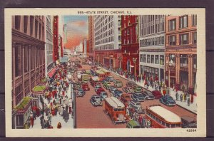 P1497 old unused postcard old cars buses people etc state st. chicago Ill