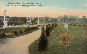 ROCHESTER, Minnesota, 00-10s; Mayo Park, Marble Statues of Washington & Lincoln