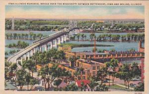 Illinois Moline Iowa Illinois Memorial Bridge Over The Mississippi Between Be...