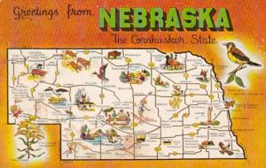 Greetings From Nebraska With Map 1962