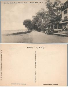 LOOKING SOUTH FROM WINDSOR HOTEL ROUSES POINT N.Y. ANTIQUE POSTCARD w/ car
