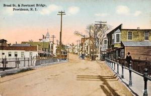 Providence Rhode Island~Broad Street Business~Man & Trolley~Pawtuxet Bridge~1908