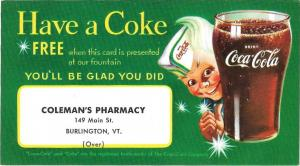 Coca Cola Premium Card Free Coke Colemans Pharmacy Burlington