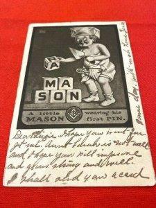 postcard 1908 MASONIC A little Mason wearing his first pin. by August Hutaf