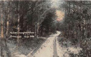 G34/ Minocqua Wisconsin RPPC Postcard c1910 Winter Among The Pines