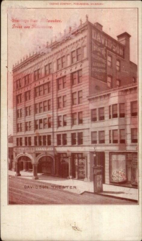 Gruss Aus Milwaukee WI Davidson Theatre c1905 Postcard