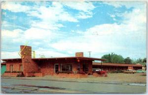 Cody, Wyoming Postcard PARK MOTEL Highway 14 Roadside w/ 1960 WY Cancel