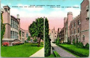 Cincinnati, Ohio Postcard XAVIER UNIVERSITY Science Hall & Library / Hinkle Hall