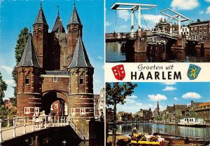 Netherlands Groeten uit Haarlem Bridge Brucke Boat Bateau Flower Market
