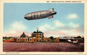 VINTAGE - Zeppelin U.S. Navy Airship - MUNICIPAL AIRPORT - Akron OH Postcard