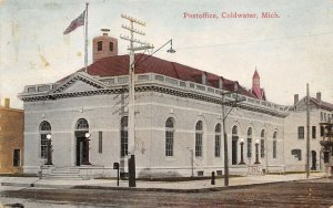 Coldwater Michigan~Post Office~NY&Chic RPO WD Cancel~1912 Postcard